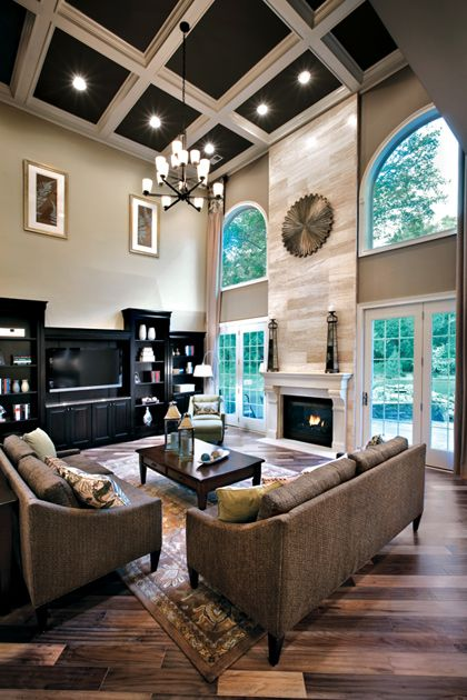 36 stylish and timeless coffered ceiling ideas for any Two story living room decorating ideas