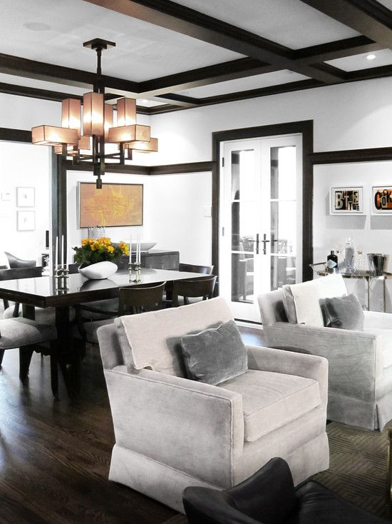 Black And White Dining Room Coffered Ceiling