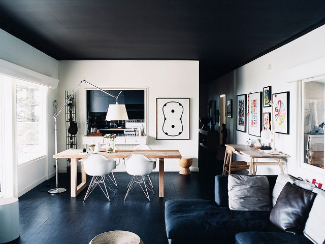 black dining space ceiling