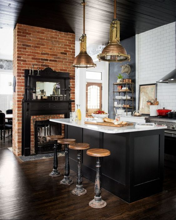 black kitchen ceiling