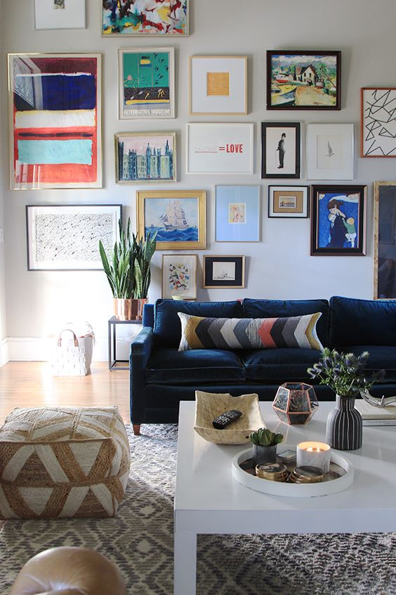 bold abstract gallery wall