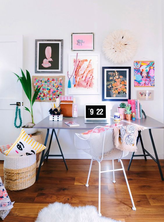 bold gallery wall with colorful artworks