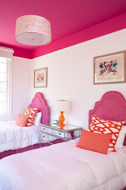 bold pink kids room ceiling
