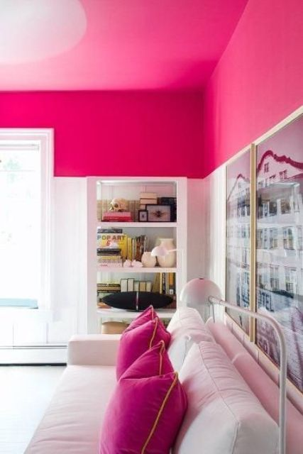 bold pink living room ceiling