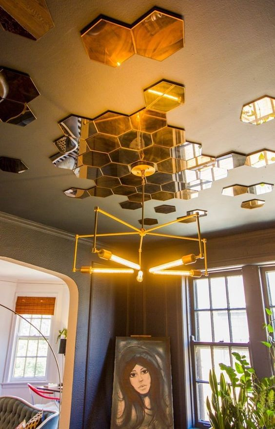 ceiling with brass hexagons