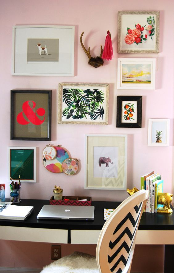 cheerful bold gallery wall