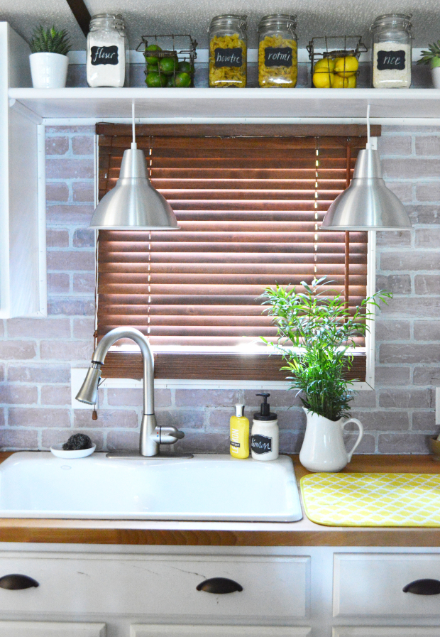 DIY raw brick backsplash (via https:)
