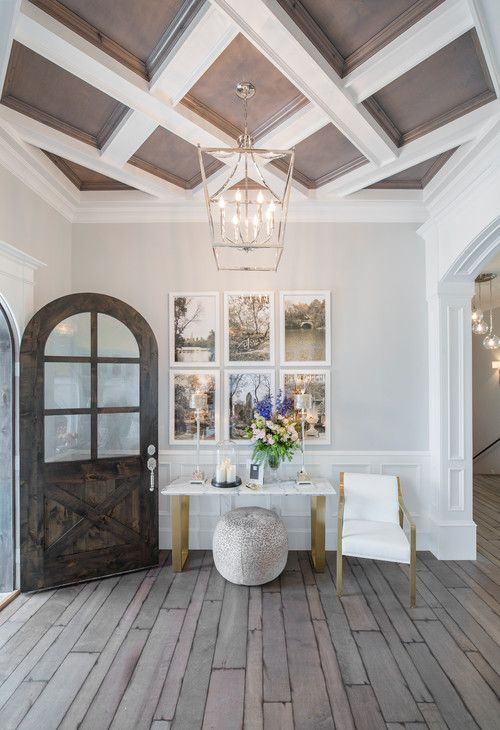 coffered pastel and white wooden ceiling