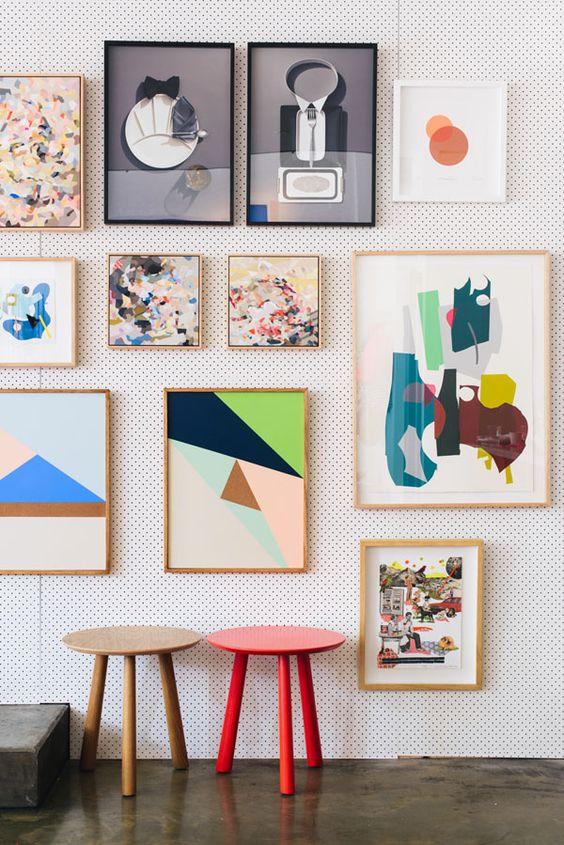 colorful geometric gallery wall