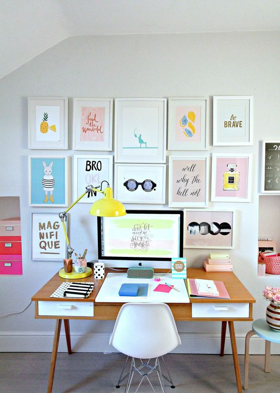 colorful glam gallery wall