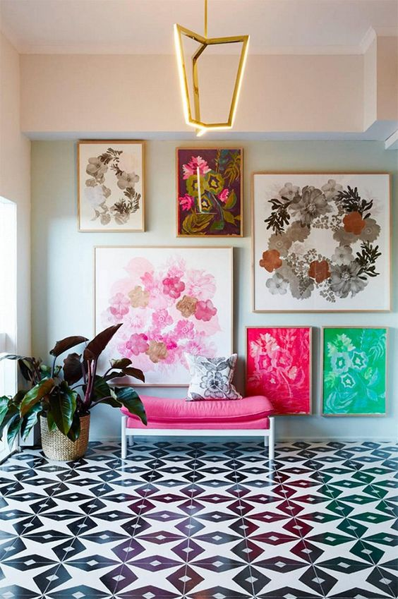 colorful watercolor gallery wall