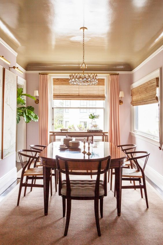 copper dining room ceiling