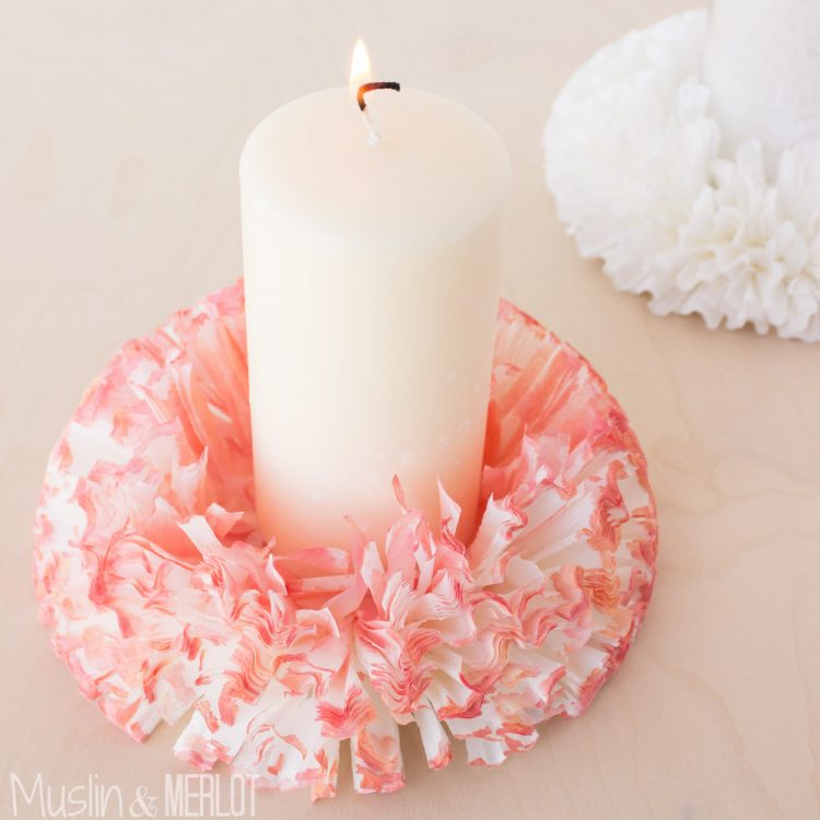 DIY coffee filter candle holder (via muslinandmerlot)