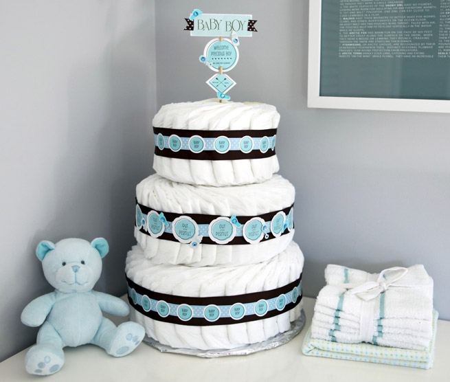 Diaper Cake Decorating Ideas : 14 Cutest DIY Baby Shower Decorations To Try - Shelterness