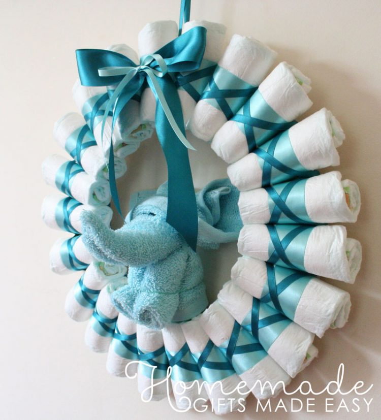 diy diaper blue wreath via homemade gifts made easy