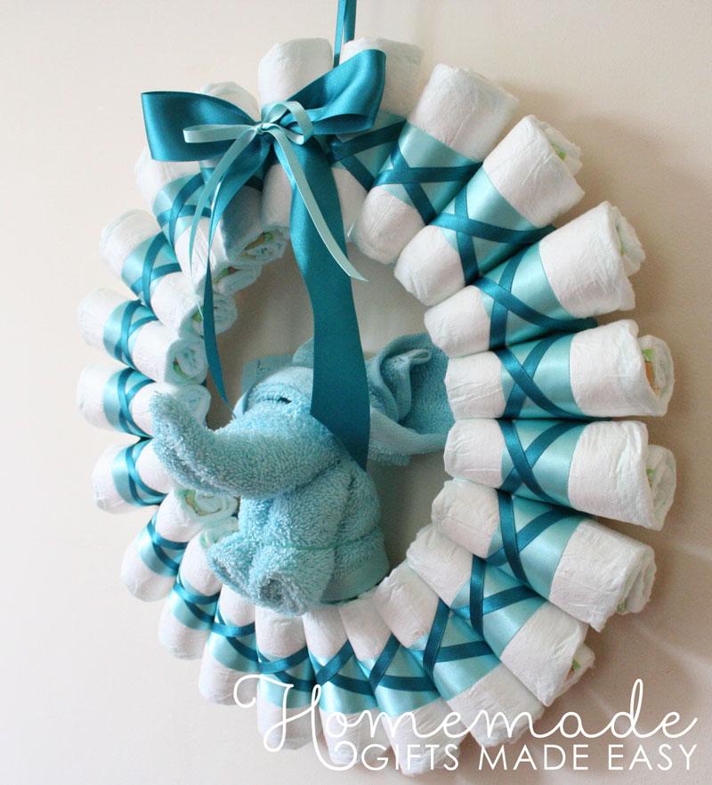 DIY diaper blue wreath