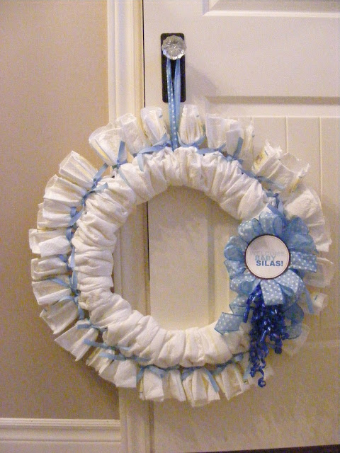 DIY diaper wreath (via imperfecthomemaking)