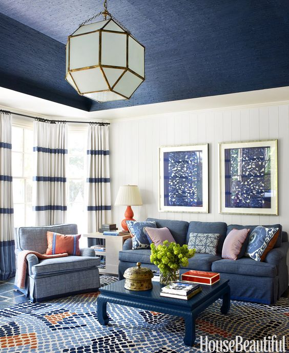 denim-inspired living room ceiling