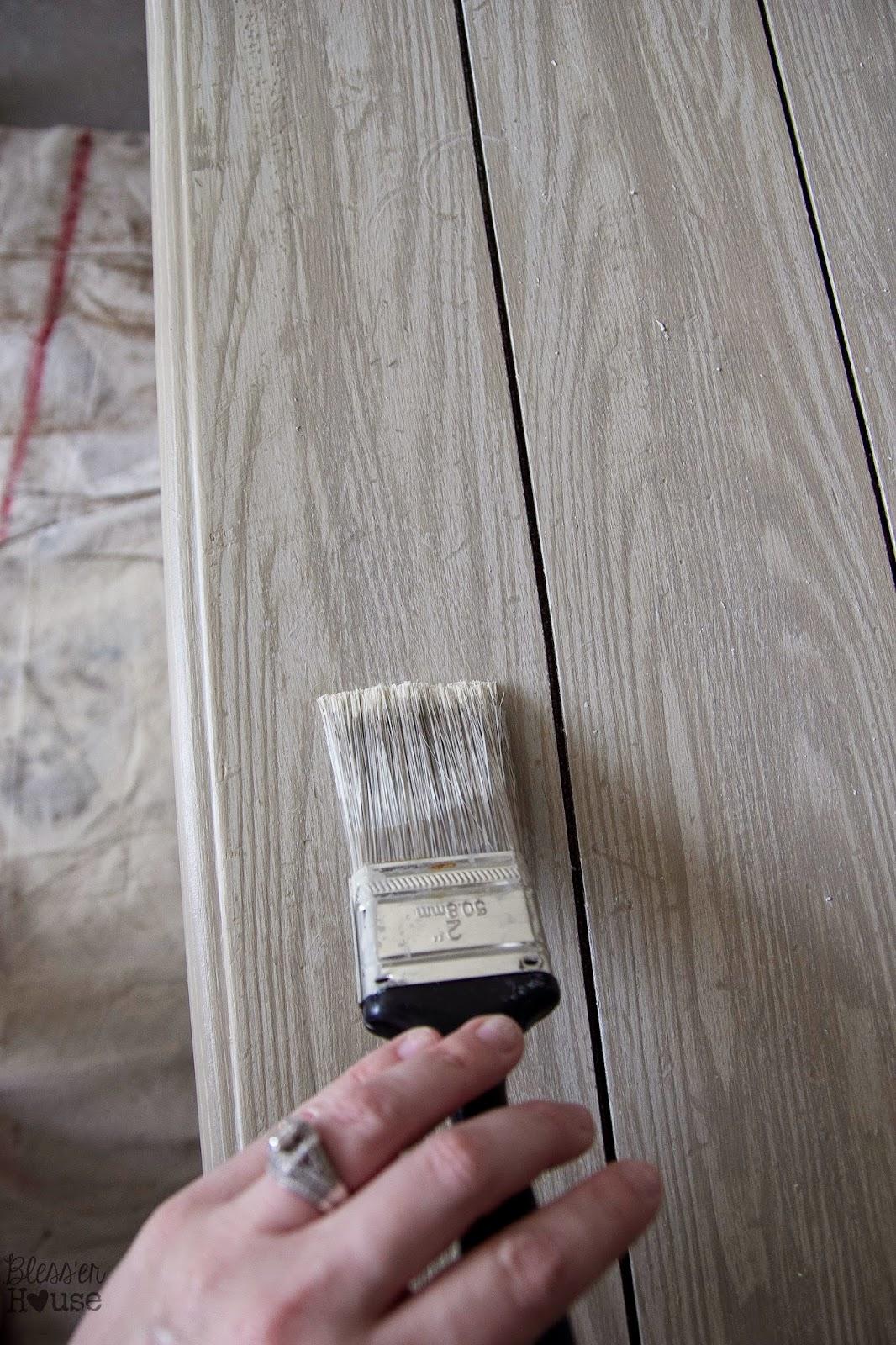 Faux reclaimed plank tabletop