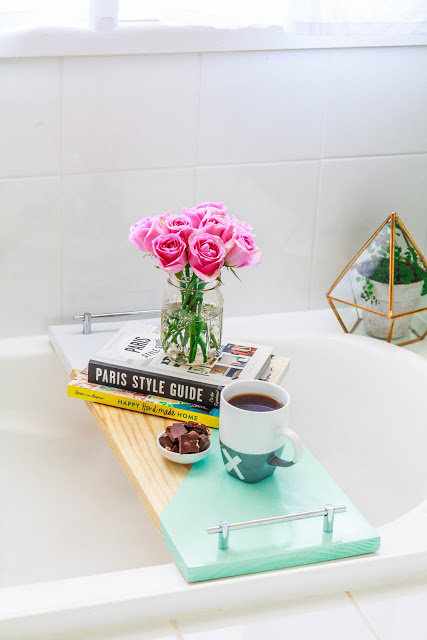 DIY Geometric Bath Shelf With Handles