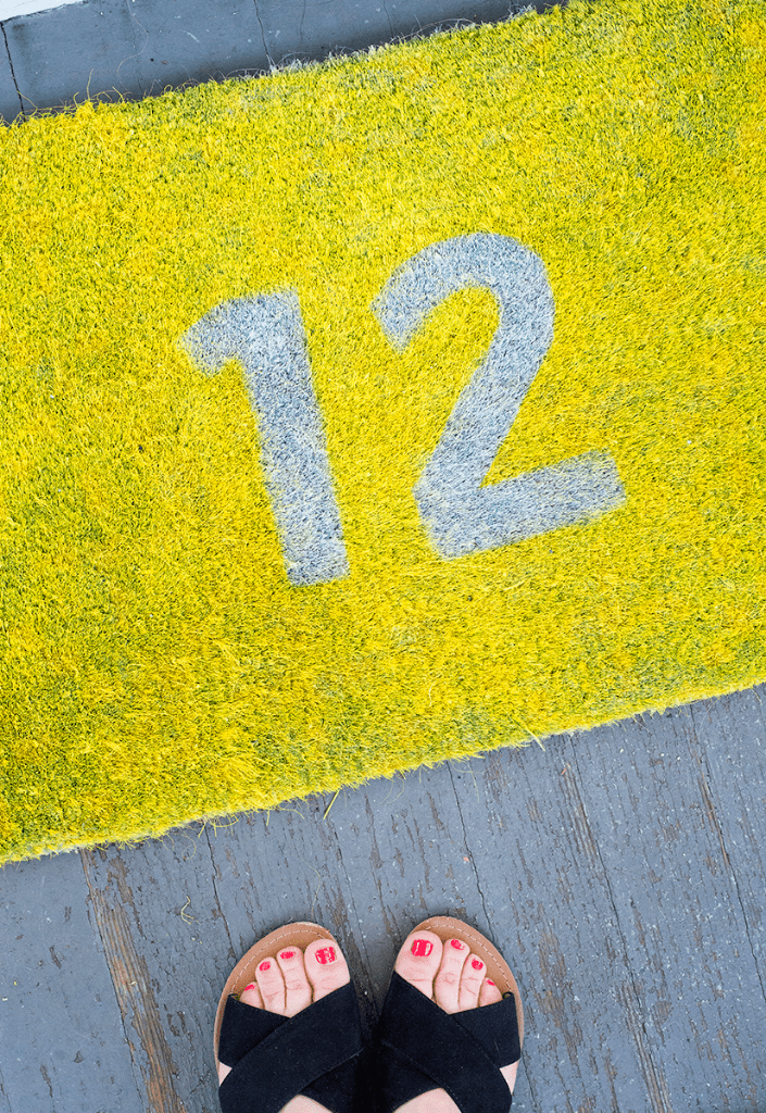 Picture Of diy graphic colorful doormat to make  1