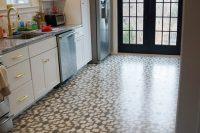 DIY stenciled kitchen floor