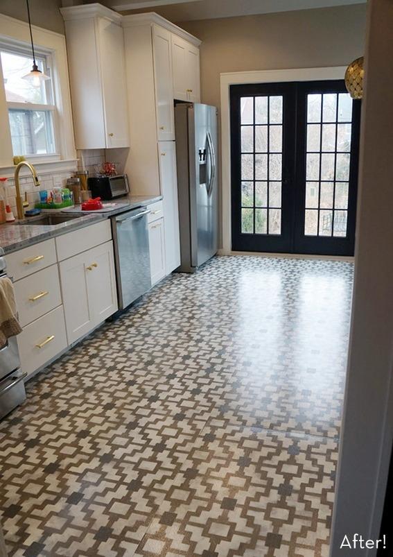 DIY stenciled kitchen floor (via curbly)