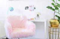 DIY fluffy blush chair makeover