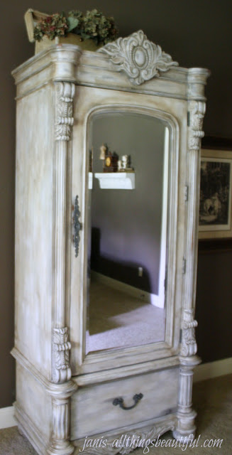 DIY whitewashed antique armoire (via janis-allthingsbeautiful)