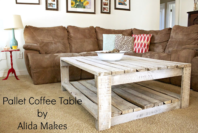 DIY distressed and whitewashed pallet coffee table (via lovestitched)