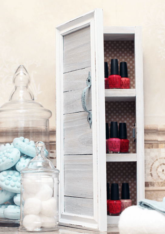 DIY whitewashed mini storage cabinet (via shelterness)