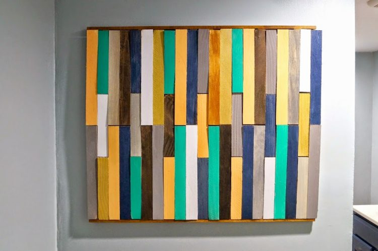 DIY wood shim wall art (via oldhousetonewhome)