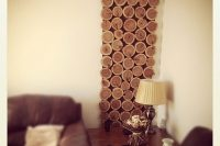DIY cedar wood slices wall art