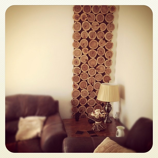 DIY cedar wood slices wall art