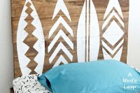 DIY stenciled surfboard wall art