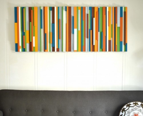 DIY modern painted wood wall art (via shelterness)