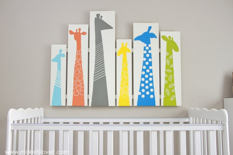 DIY giraffe nursery wood wart (via makeit-loveit)