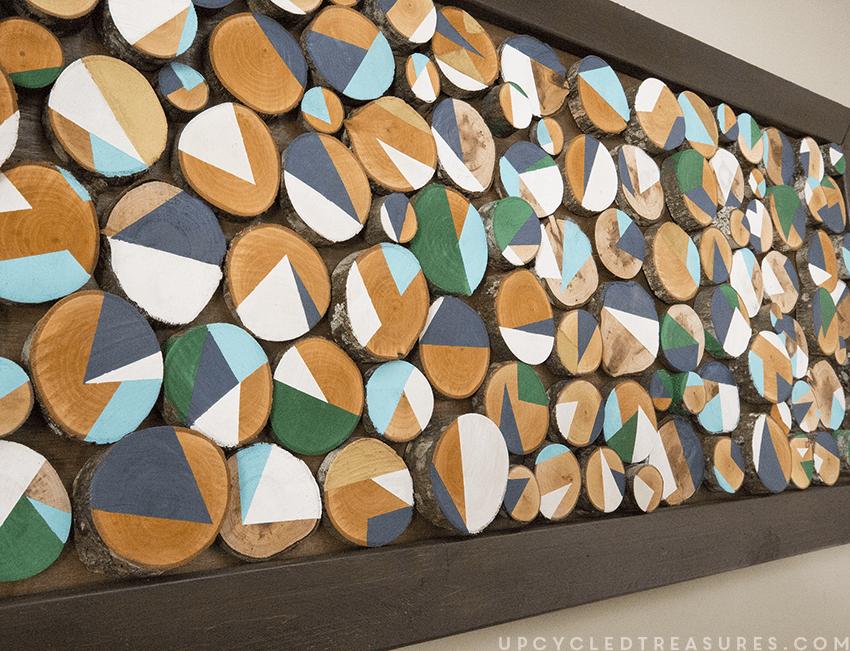 DIY bold wood slice wall art