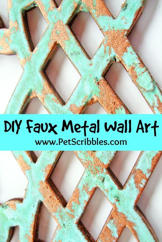 DIY faux patina metal wall art (via hometalk)