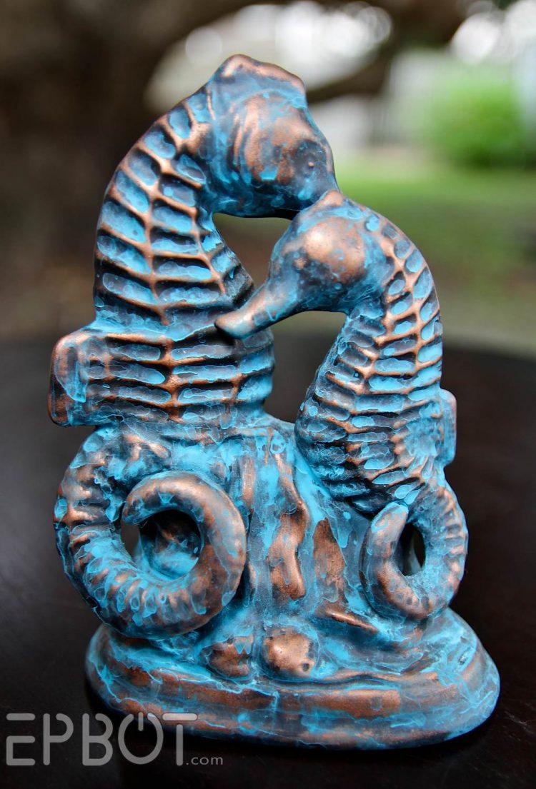 DIY patina copper seahorse statue (via epbot)