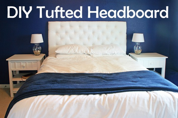 DIY pure white tufted headboard (via starsandsunshine)
