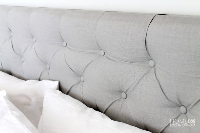 DIY diamond tufted headboard (via homemadebycarmona)