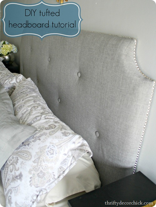 DIY tufted nailed headboard (via thriftydecorchick)