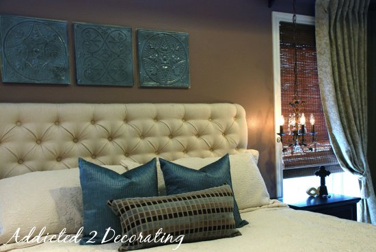 DIY diamond tufted upholstered headboard (via addicted2decorating)