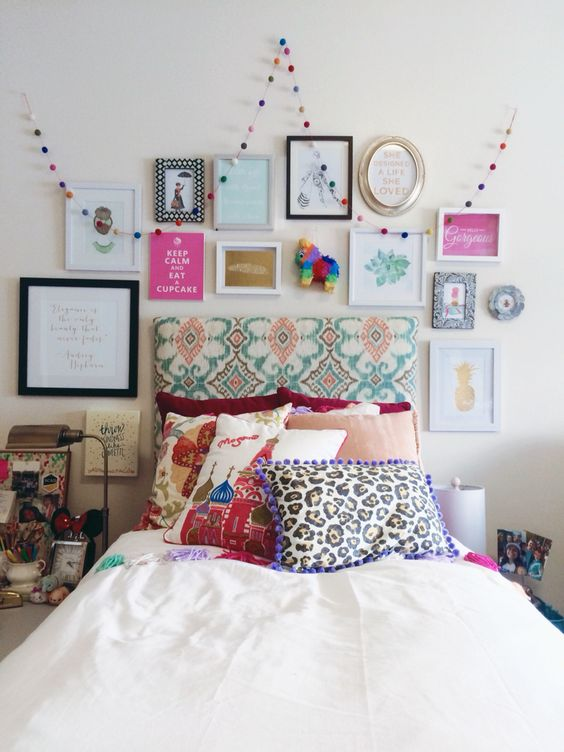 eclectic bold gallery wall