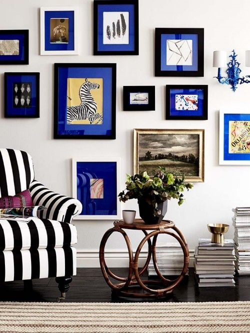 electric blue gallery wall