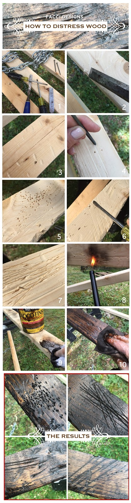 Chisel, screwdrivers, hammer, chain, screw, nail, BBQ lighter or blow torch, wood stain and rag are things you need to make a faux old wood beam. (via https:)