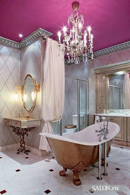 fuchsia bathroom ceiling