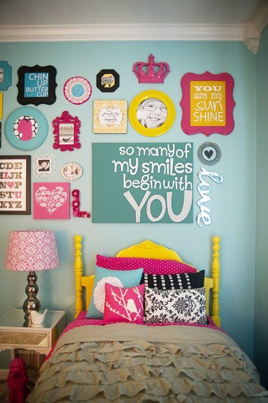 fun colorful gallery wall