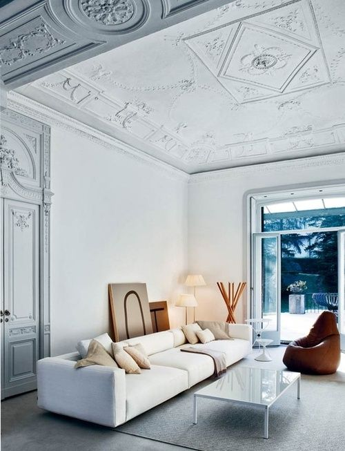 geometric and floral ceiling molding